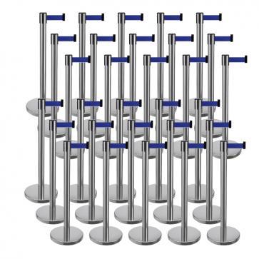 30 Pack - Silver Flexibarrier Belt Barrier (2m blue retractable belt)