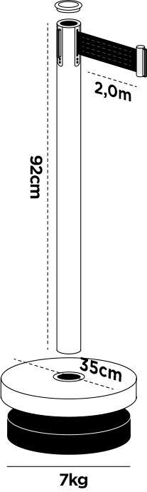 20 Pack - Silver Flexibarrier Belt Barrier (2m black retractable belt)
