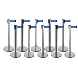 10 Pack - Silver Flexibarrier Belt Barrier (3m blue retractable belt)