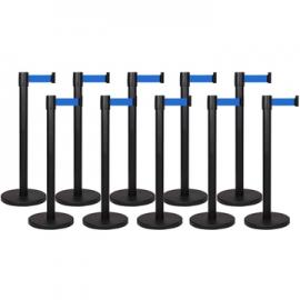 10 Pack - Black Flexibarrier Belt Barrier (3m blue retractable belt)