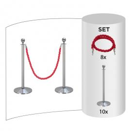 10 pack - Silver Flexibarrier Rope Barrier + Red rope (10x Silver Barriers + 8x Red Ropes)