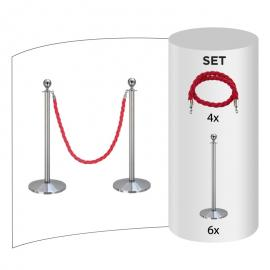 6 pack - Silver Flexibarrier Rope Barrier + Red rope (6x Silver Barriers + 4x Red Ropes)