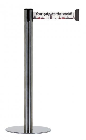 Beltrac Imprint Accent - Afzetpaal met discrete voet en eigen bedrukking (2,3m)