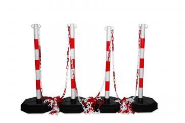 Pakket -Robuust-, 4 rood-witte afzetpalen met ketting 25m