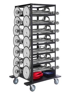 Pakket-Expo- 18 zilveren afzetpalen, 17 koorden op transportwagen