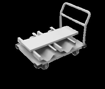 Transportwagen op wielen met plaats voor 12 afzetpalen