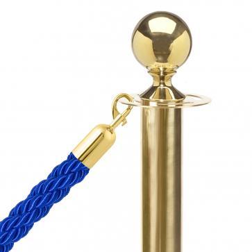 10-pakke - Messing Avsperringsstolpe + Blått tau (10x messingstolper + 9x blått tau)