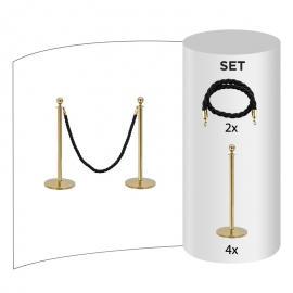 4-pakke - Messing Avsperringsstolpe + Svart tau (4x messingstolper + 2x svarte tau)
