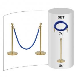 8-pakke - Messing Avsperringsstolpe + Blått tau (8x messingstolper + 7x blått tau)